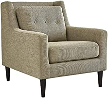 Home Canvas DOXY Upholstered Chair Fabric Armchairs for Living Room - Tufted Cushion Back, Solid Wood Legs | Accent...