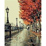Bricolage numérique toile peinture à l'huile de décoration en nombre Kits romantique amour automne 16 * 20 cm.