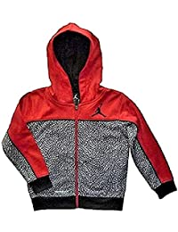 9a6daa1c2b65d2 Nike Air Jordan Little Boys Jumpman Red and Black Print Full Zip Therma-Fit  Hoodie