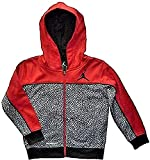 Nike Air Jordan Little Boys Jumpman Red and Black Print Full Zip Therma-Fit Hoodie (Large / 7)