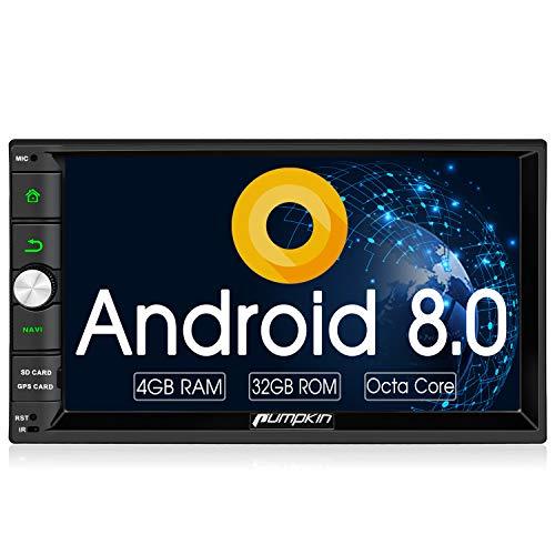 Pumpkin Android 8.0 Autoradio Radio mit Navi 4GB Unterstützt Bluetooth DAB+ Android Auto USB WLAN 4G MicroSD 2 Din 7 Zoll Bildschirm