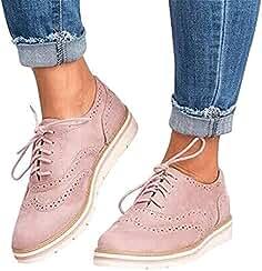 fb00ea052754b Zapatos Planos con Cordones Mujer Brogue Zapato Talón Plano Gamuza Colores  Manera Tallas Grandes Botas Negro