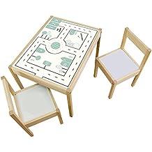 Möbelaufkleber Straßen - passend für IKEA LÄTT Kindertisch - Kinderzimmer Spieltisch - Möbel nicht inklusive