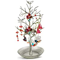 YUDA Jewelry Organizer Display Antique Silver Birds Tree Rack Tower Display Stand Organizer Holder for Jewelry Earrings Bracelets Necklaces by YUDA - Braccialetto Jewelry Display Stand