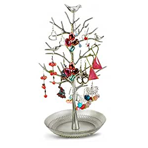 YUDA Jewelry Organizer Display Antique Silver Birds Tree Rack Tower Display Stand Organizer Holder for Jewelry Earrings Bracelets Necklaces by YUDA