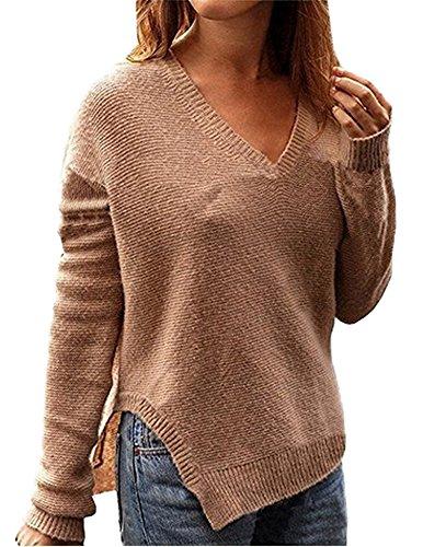 Minetom Damen V-Ausschnitt Sweatshirt Asymmetrisch Pullover Pulli Strickjacke Langarm T-Shirt Tops Bluse Braun DE 44