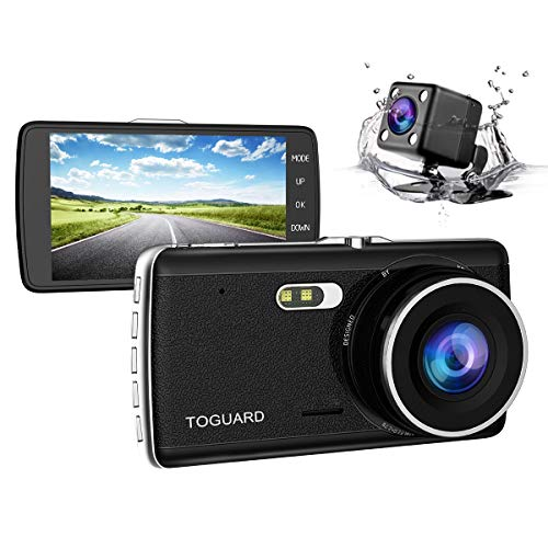 """TOGUARD 【Caméra Arrière 720P Améliorée】 Caméra De Recul Caméra Voiture Full HD 1080P Écran 4.0"""", DASHCAM Voiture Double Objectif, DVR, Dash Cam Grand Angle 170°, Enregistrement en Boucle, Capteur G"""