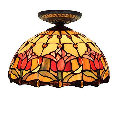 kemeng LED runde Deckenleuchten, rote Tulpe 12 Zoll europäischen Glasmalerei Restaurant Decke Pendelleuchten, für Esszimmer, Schlafzimmer oder Veranda. -