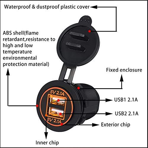 EisEyen - Cargador para Moto (Doble USB, 2,1 A, 12-24 V, con...