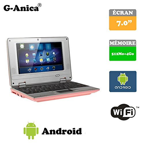 G-Anica 7.0-inch Full-HD Laptop (WIFI, Webcam, Dual-Core 512MB RAM, 4GB) with Android 4.4.2 Netbook (Pink)