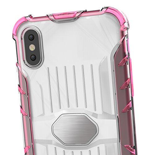 iPhone X Hülle, Voguecase Transparent Schutzhülle / Case / Cover / Hülle / 2 in 1 TPU + PC für magnetischen Auto Mount Gel Skin für Apple iPhone X (Schwarz) + Gratis Universal Eingabestift Transparent