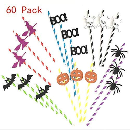 VPlus 60 Pcs a Pack Spiders, Bat, White Skull, Little Witch, Boo,Pumpkin Paper Straw for Cocktails Drink Decor - Halloween Theme Party Striped Decorative Straws