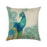 Hengjiang Bird Peacock Art Couvre-lit Taie d'oreiller double face en coton et lin Housses de coussin Canapé Home Decor Cadeau plumes