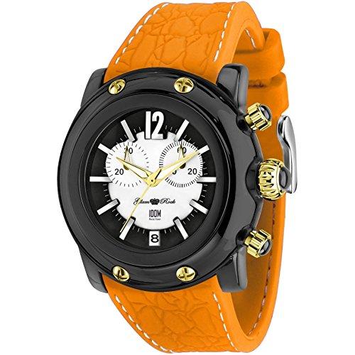 Glam Rock Unisex Miami Beach 46mm Orange Silicone Band Polycarbonate Case Quartz Black Dial Watch GR25137