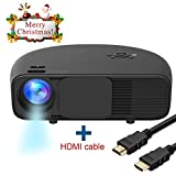 Proiettore Full HD, HuiHeng Video Proiettore con Risoluzione 1280x800 e 3200 Lumen HDMI VGA USB per Smartphone Portatile Ideale per Office Home Cinema Entertainment Party