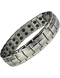MPS® EUROPE Classic Titanium Magnetic Bracelet with Fold-Over Clasp, Powerful 3,000 gauss Magnets + Free Gift Wallet