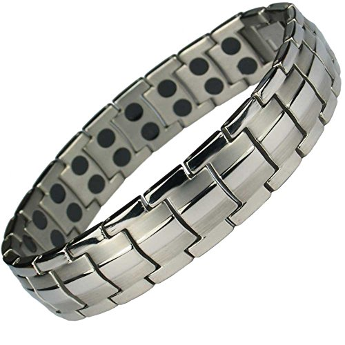 MPS EUROPE Classic Titanium Magnetic Bracelet with Fold-Over Clasp, Powerful 3,000 gauss Magnets + Free Gift Wallet
