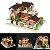 DIY Dollhouse Antike Architektur mit LED-Leuchten, Handgemachte Miniatur Realistische Mini Villa 3D Holz Puppenhaus Möbel Ohne Staubschutz für Kindertag Kreatives Spielzeug Geburtstagsgeschenk