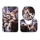 GLOBEAGLE 3Pcs/lot Imprimé Animal antidérapant Eau Absorber Tapis de Sol Tapis de Bain Tapis Pad