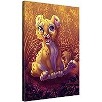 Larga stampa su tela per decorazione murale – LION CUB - 40x60cm Immagine su tela su telaio in legno – Stampa su tela Giclée – Arazzo decorazione murale