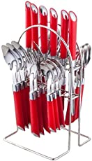 NAOE™ Losange 24 Piece (Halen) Cutlery Set with Stand/Red Colour Stainless Steel/Gift Set