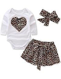3pcs Toddler Bambina Maniche Lunghe Stampe Cuore Romper Tuta Cime & Reticolo Leopardo Gonna & Fascia Abiti Set
