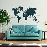 malango® Wandtattoo Weltkarte beschriftet Kontinente Nordamerika Südamerika Europa Afrika Asien Australien Wanddekoration ca. 160 x 88 cm türkis