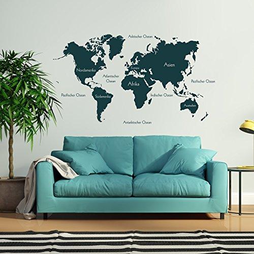 malango® Wandtattoo Weltkarte beschriftet Kontinente Nordamerika Südamerika Europa Afrika Asien Australien Wanddekoration ca. 120 x 66 cm dunkelgrün