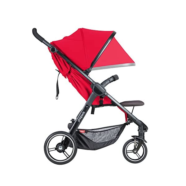 """Phil&teds Smart Buggy Pushchair, Cherry phil&teds Foot fold - intuitive, compact, one-piece standing foot fold - a world's first of its kind - is only 23"""" wide, making it perfect for tight city spaces Smooth ride tires - super-smooth, hassle-free riding with 10"""" rear puncture-proof, aerotech wheels and suspension on all four wheels; convenient hand-operated parking brake offers easy braking control at your fingertips Lightweight - stroller weighs 23.5 lbs. and includes a main, full-size seat that holds up to 44 lbs., an extendable leg and a sun hood with zip-out extension and silent peek-a-boo flap 6"""
