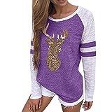 OverDose Damen Tuniken Pullover Festival Weihnachten Frauen Rentier Blusen T-Shirt Xmas Party Clubbing Schlank Langarmshirts(Violet,EU-34/CN-S)