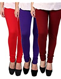 Anekaant Cotton Lycra Women's Legging Pack of 3 (Red, Purple, Rust)