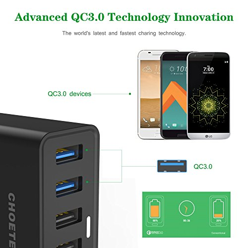 Caricabatterie da tavolo quick charge 3 0 choetech 50w for Porte usb non funzionano windows 7