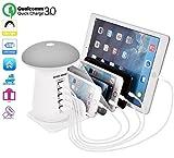 Multiple USB Charger Station Charging Organizer 3in1 5 Power Port LED Mushroom Light