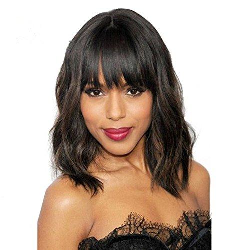 gloryhair perruque de cheveux humains courte avec frange Châtain naturel complet Perruques Lace Front Brésilienne court Bob ondulés perruques Lace Front pour femme Noir