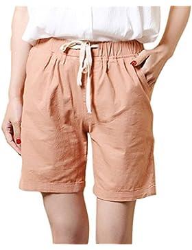 Juqilu Pantalones Cortos para Mujer de Lino élastico Cintura del Pantalones Cortos Con Cordón Talla Grande Bermuda...