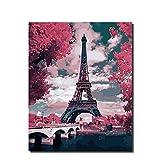 Yyboo Malen nach Zahlen DIY Paris-Turmnachtansicht-Brücken-Nachtszene Digitales Ölgemäldeausgangs-Anstrichmalerei Durch Zahlfarbe