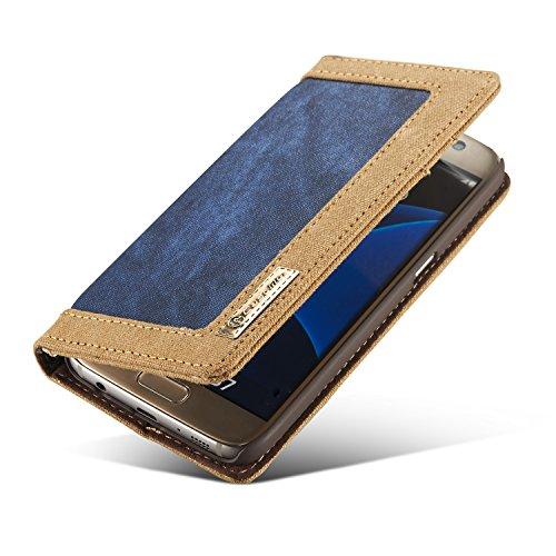 Wkae pour 2018 Téléphone Accessoires pour Samsung S7 PU Housse Etui en Cuir Pochette avec Fente pour Carte Photo Frame