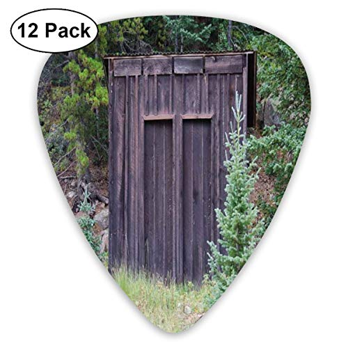 Guitar Picks - Abstract Art Colorful Designs,Farm Life House Wooden Door Of Cottage Hut In Woodland Leaves Art Print,Unique Guitar Gift,For Bass Electric & Acoustic Guitars-12 Pack