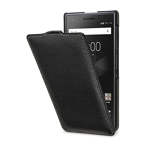 StilGut UltraSlim Lederhülle für BlackBerry Motion. Dünnes Flip-Case vertikal klappbar aus Echtleder, Schwarz