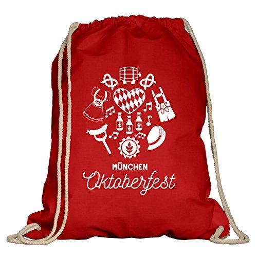 Shirtdepartment® Turnbeutel für das Oktoberfest | Farbe: Rot-Weiss München Oktoberfest | Wiesn 2018 | Lederhose | Dirndl | Bayrisch | Bayern | Jutebeutel | Spruch | Design | Rucksack