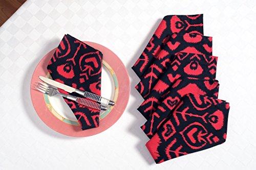 ShalinIndia Indien Serviettes de Table de Salle à Manger en Tissu de Coton Rouge et Noir 200 Fils 13 x 13 inches Rouge/Noir