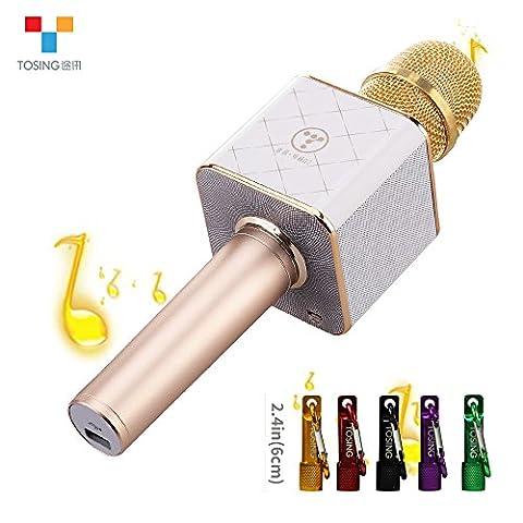 TOSING Q7 Microphone sans fil Karaoke Haut-parleur Bluetooth 2-en-1 Ordinateur de poche Chant et enregistrement Portable KTV Player Mini Home KTV Music Machine System pour iPhone / Android Smartphone / Tablet Compatible(Or)