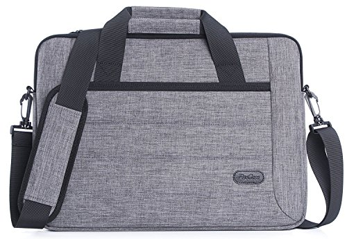 ProCase 14-15,6 Zoll Aktenkoffer Messenger Bag mit Schultergurt und Griff für 14 15 Zoll Laptop Ultrabook MacBook Chromebook Notebook Computer Acer ASUS Dell HP Lenovo Samsung Sony Toshiba -Grau