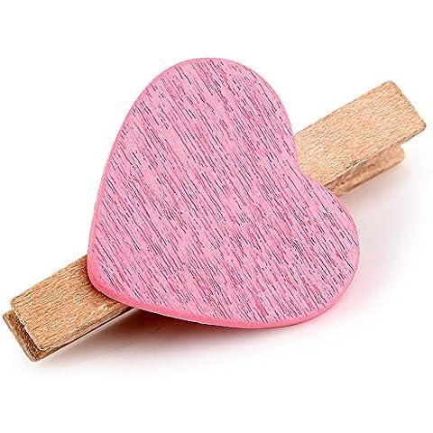 Ouba 50pcs del corazón Accent pinzas de la ropa del resorte de madera y pegatinas decoración de la pared de DIY foto del papel de Memo Marco clips Craft