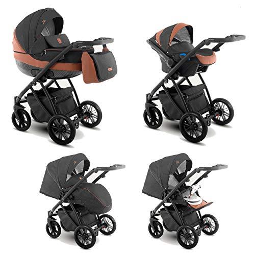 Lux4Kids Kinderwagen 2in1 3in1 Isofix Buggy Autositz 6 Farben Gratis Zubehör Zoe Carbon Brown ZEO-3 3in1 mit Babyschale