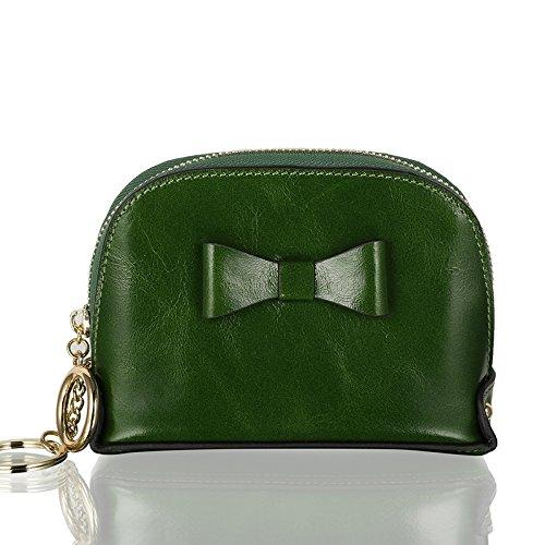 Swallowuk Frauen-Bowknot-Reißverschluss-Münzen-Geldbeutel kurze Mappen-Handtasche Geldbörse (Grün)