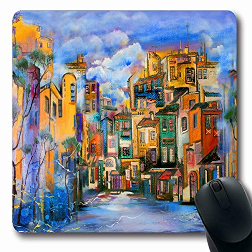 Mousepads Orange Abstrakt Bewölkt Hof Malerei Kunst Moderne Leinwand Stadt Öl Design Längliche Form Rutschfeste Gaming Mouse Pad Gummi Längliche Matte,Gummimatte 11,8