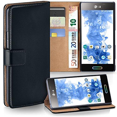 LG P710 Optimus L7 II Hülle Schwarz mit Karten-Fach [OneFlow 360° Book Klapp-Hülle] Handytasche Kunst-Leder Handyhülle für LG Optimus L7 2 Case Flip Cover Schutzhülle Tasche Lg Optimus Hülle