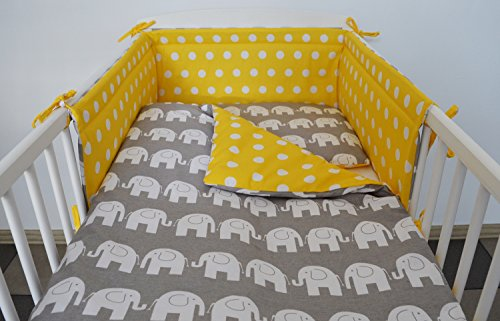 3 pc BABY BEDDING SET FOR COT 120X60 OR COT BED 140X70 – STARS-ELEPHANT- (COT BED SIZE 140X70, GREY ELEPHANT – YELLOW WITH DOTS – REVERSIBLE)