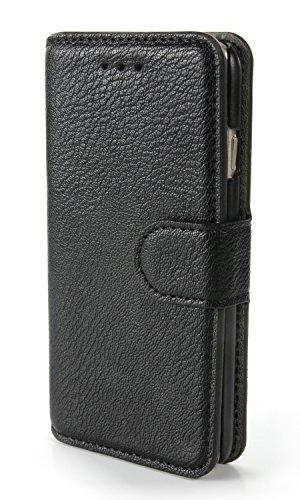 """iPhone 8 Lederhülle / Handytasche mit Echtleder - Edle iPhone 8 Handyhülle in Schwarz - Apple iPhone 8 Case / Schutzhülle mit Magnetverschluss und Kartenfach (4,7"""") (iPhone 8, Schwarz)"""